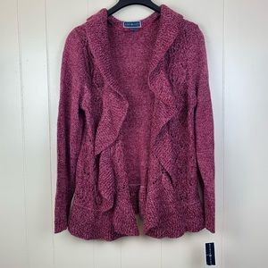 KAREN SCOTT | Berry Marle Crochet Open Cardigan XL